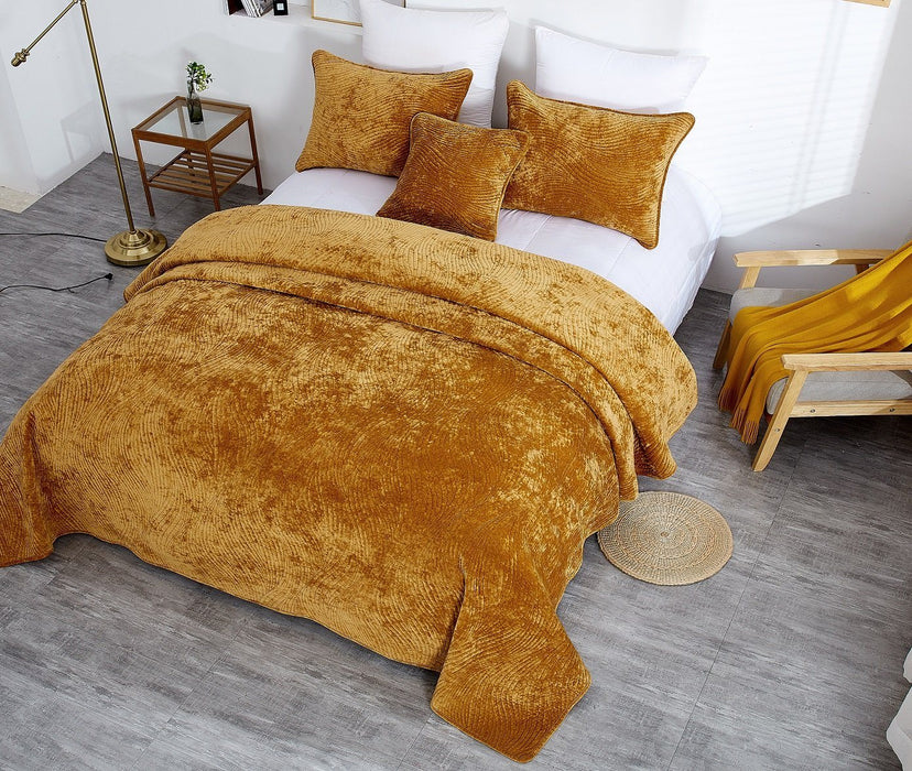 Tache Velvet Dreams Melted Gold Plush Waves Bedspread (JHW-852Y)