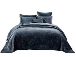 Tache Navy Blue Velvety Dreams Plush Waves Bedspread (JHW-852BL) - Tache Home Fashion