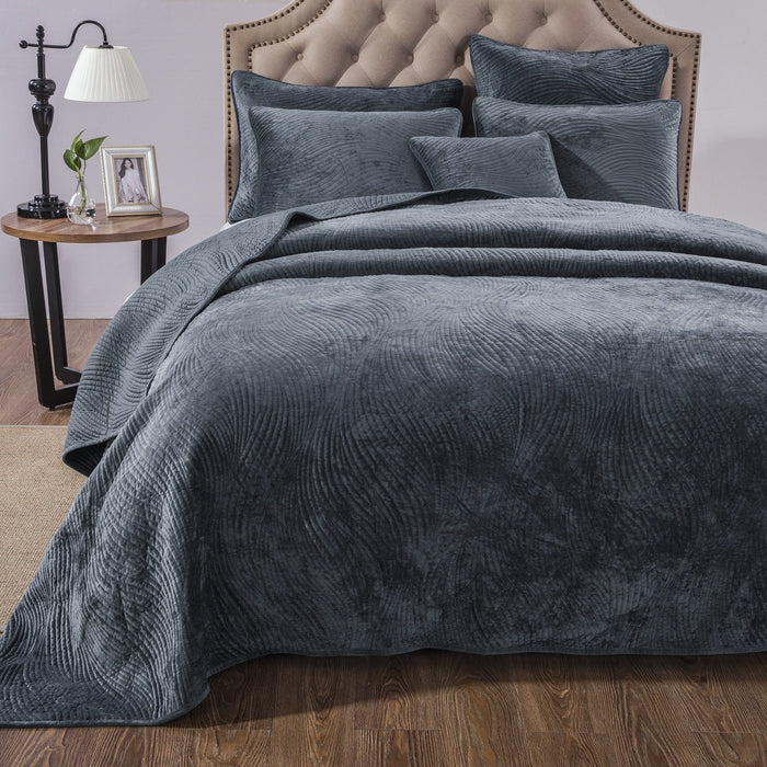 Tache Navy Blue Velvety Dreams Luxury Velveteen Plush Waves Quilted Bedspread (JHW-852BL) - Tache Home Fashion