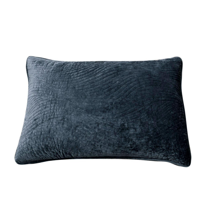 Tache Navy Blue Velvety Dreams Plush Waves Pillow Sham (JHW-852BL) - Tache Home Fashion