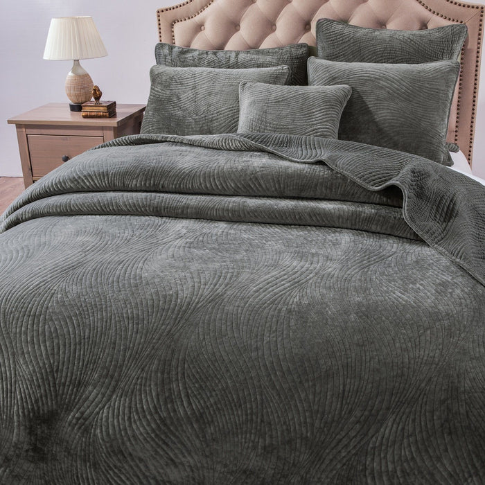 Tache Dark Brown Velvety Dreams Luxury Velveteen Plush Waves Quilted Bedspread (JHW-852BR) - Tache Home Fashion