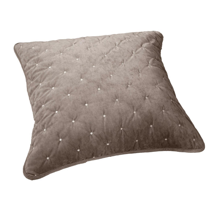 Tache Tan Beige Velvety Dreams Luxury Velveteen Plush Diamond Tufted Euro Sham (JHW-853B-Euro)