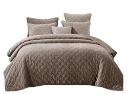 Tache Tan Beige Velvety Dreams Luxury Velveteen Plush Diamond Tufted Bedspread (JHW-853B)