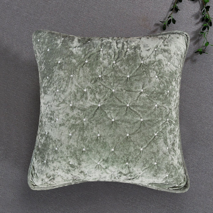 Tache Velvet Dreams Light Green Plush Diamond Tufted Euro Sham (JHW-853G) - Tache Home Fashion