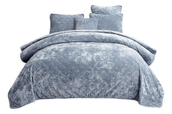 Tache Velvet Dreams Light Blue Plush Diamond Tufted Bedspread (JHW-853LB) - Tache Home Fashion