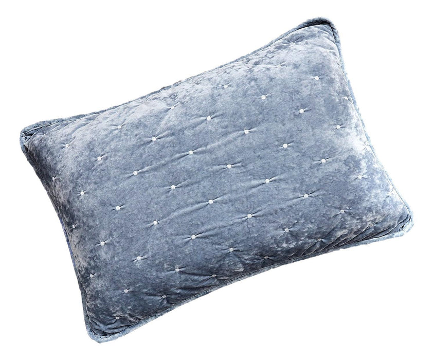 Tache Velvet Dreams Light Blue Plush Diamond Tufted Pillow Sham (JHW-853LB) - Tache Home Fashion