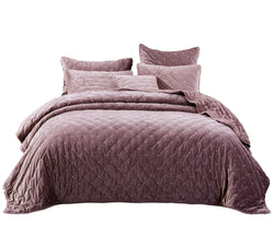 Tache Purple Mauve Velvety Dreams Luxury Velveteen Plush Diamond Tufted Bedspread (JHW-853P)