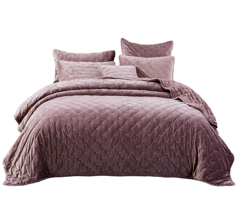 Tache Purple Mauve Velvety Dreams Plush Diamond Tufted Bedspread (JHW-853P)