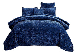 Tache Velvet Dreams Dark Blue Plush Diamond Tufted Bedspread (JHW-853DB) - Tache Home Fashion