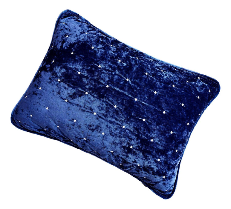 Tache Velvet Dreams Dark Blue Plush Diamond Tufted Pillow Sham (JHW-853DB) - Tache Home Fashion