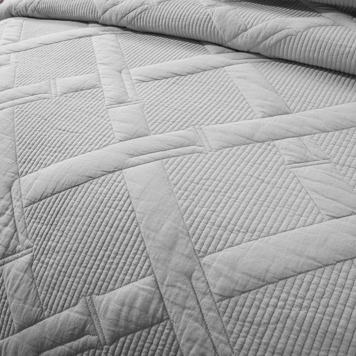 Tache Light Grey Silver Soothing Pastel Cotton Diamond Stitch Pattern Quilted Bedspread (JHW-862) - Tache Home Fashion