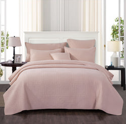 Tache Blush Pink Soothing Pastel Cotton Diamond Stitch Pattern Stone Wash Bedspread (JHW-863)
