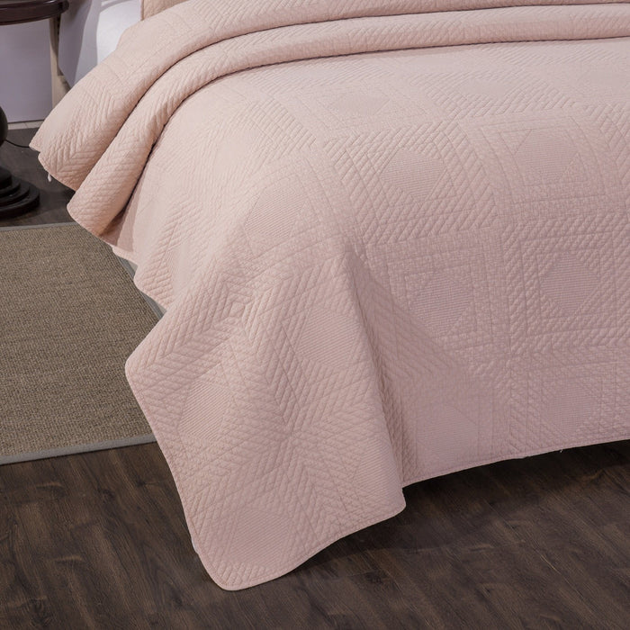 Tache Cotton Blush Pink Soothing Pastel Diamond Stitch Pattern Stone Washed Quilt Bedspread Set (JHW-863) - Tache Home Fashion