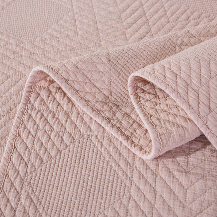 Tache Cotton Stone Washed Blush Pink Soothing Pastel Diamond Bedspread Set (JHW-863) - Tache Home Fashion
