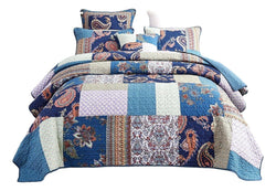 Tache Paisley Night Floral Bohemian Cotton Patchwork Quilt Set (JHW-882)