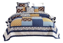 Tache Prairie Sunset Floral Farmhouse Cotton Patchwork Quilt Set (JHW-887)