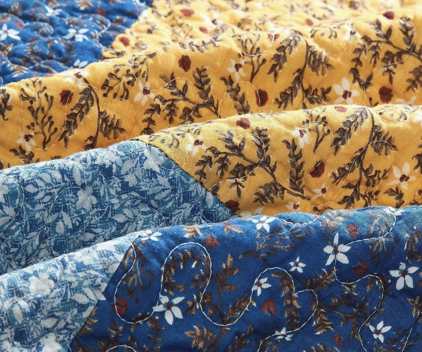 Tache Cotton Patchwork White Blue Yellow Brown Floral Prairie Sunset Quilt (JHW-887) - Tache Home Fashion