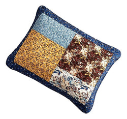 Tache Cotton Patchwork White Blue Yellow Brown Floral Prairie Sunset Pillow Sham (JHW-887) - Tache Home Fashion