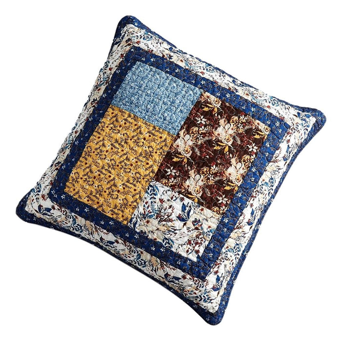 Tache Cotton Patchwork White Blue Yellow Brown Floral Prairie Sunset Euro Sham (JHW-887) - Tache Home Fashion