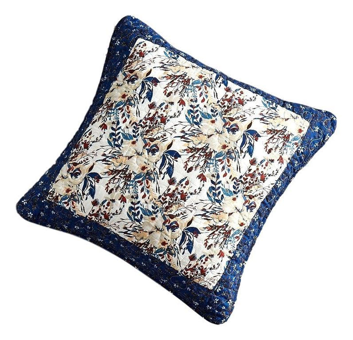 Tache Cotton Patchwork White Blue Yellow Brown Floral Prairie Sunset Cushion Cover 2-Pieces (JHW-887) - Tache Home Fashion
