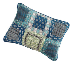 Tache Cotton Patchwork Teal Blue Green Paisley Bohemian Ocean Pillow Sham (JHW-888) - Tache Home Fashion