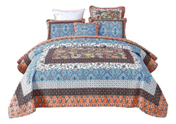 Tache Cotton Patchwork Paisley Floral Blue Orange Bohemian Mosaic Paradise Quilt (JHW-933) - Tache Home Fashion
