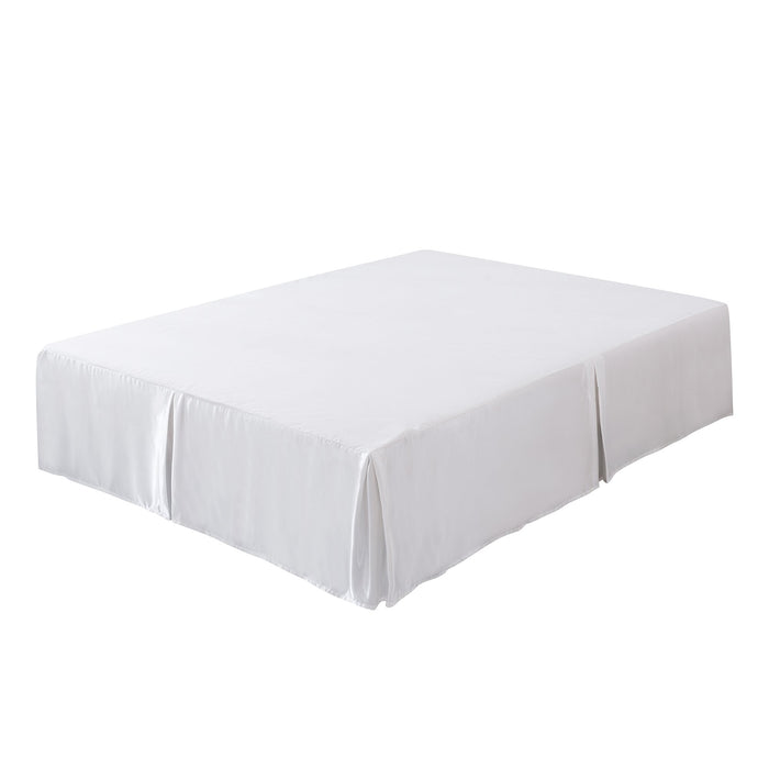 Tache Satin Pearl White Delicate Rose Bed Skirt (MA125)