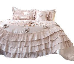 Tache Luxury Floral Satin Ruffle Frosted Field Beige Comforter Set (MZ1051) - Tache Home Fashion