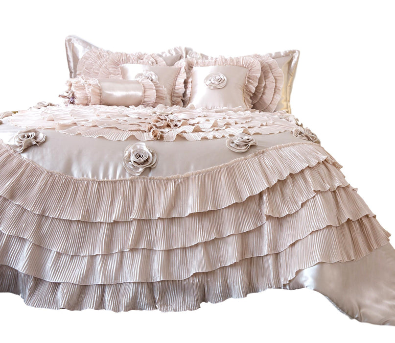 Tache Satin Ruffle Luxury Floral Champagne Beige Frosted Field Comforter Set (MZ1051) - Tache Home Fashion