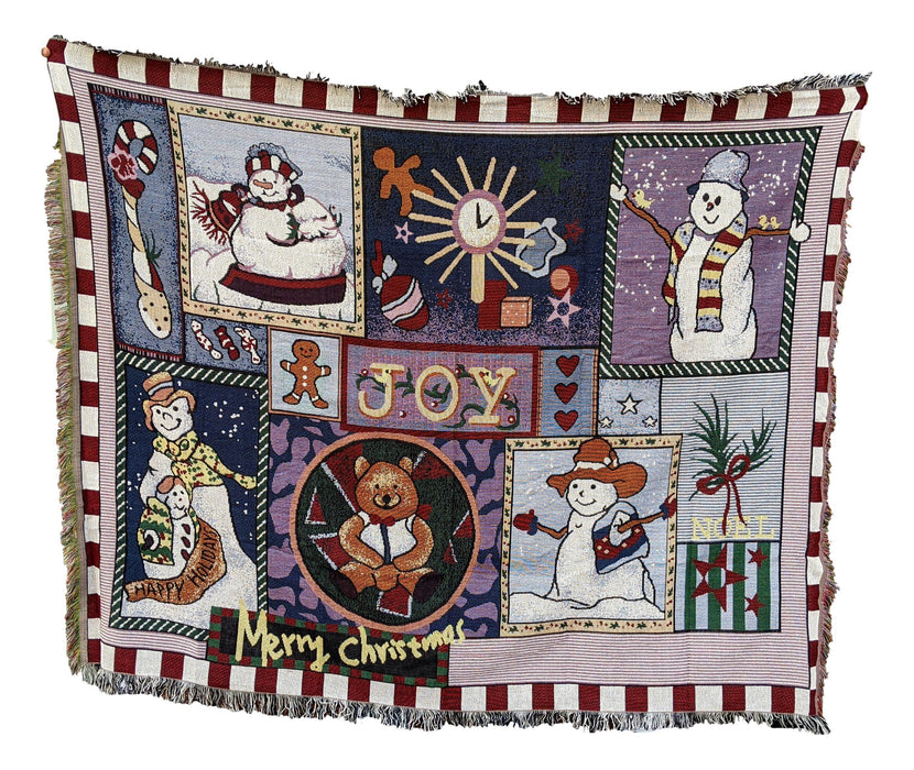 Tache Wonderful Season Snowman Tapestry Throw with Fringe (2270)