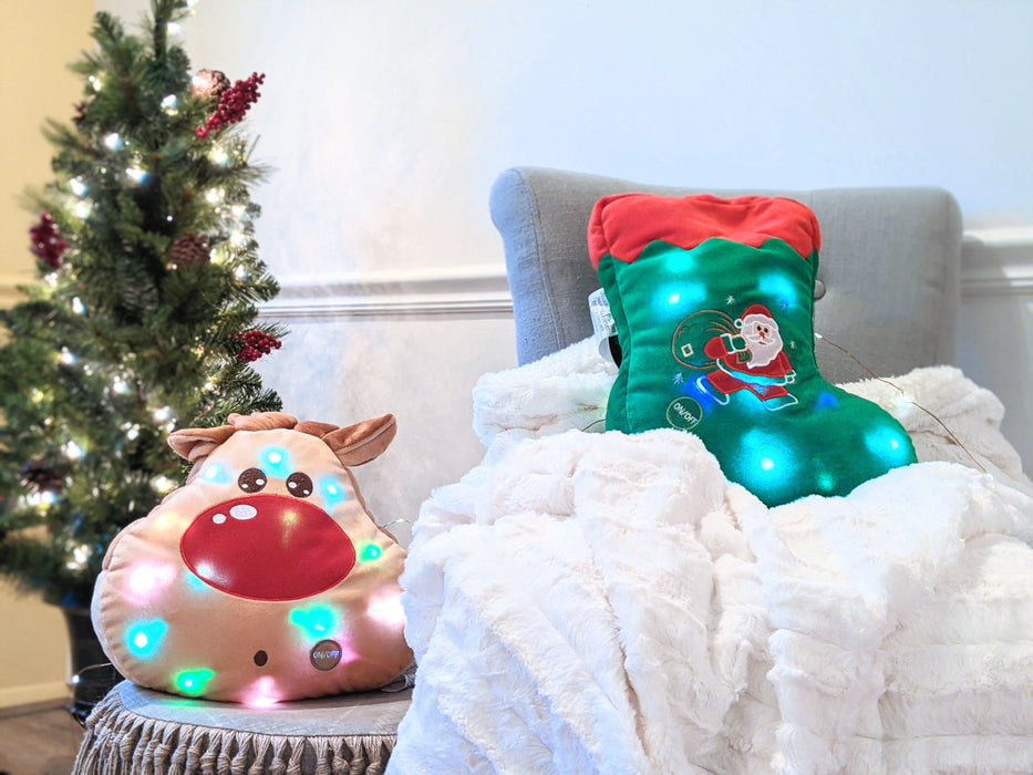 Tache Squishy Light Up Cute Christmas Santa Stocking Microbead LED Throw Pillow