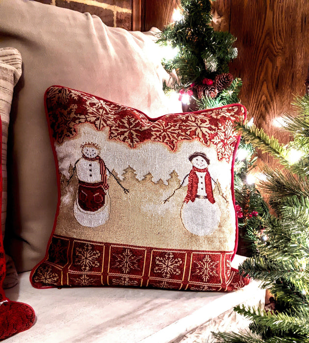 Tache Festive Christmas Holiday Snowman Santa Claus Red Gold Tapestry Cushion Throw Pillow