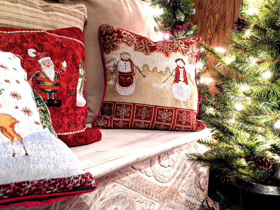 Tache Mr. & Mrs. Snowman Couple Woven Tapestry Cushion Cover (10323CC)