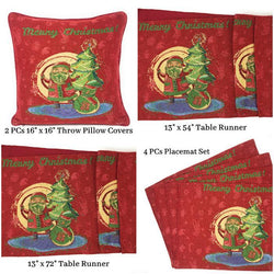 DaDa Bedding Set of 8 Pieces Red Santa Claus Holiday Table Tapestry - 4 Placemats, 2 Table Runners, 2 Throw Pillow Covers (17615) - Tache Home Fashion