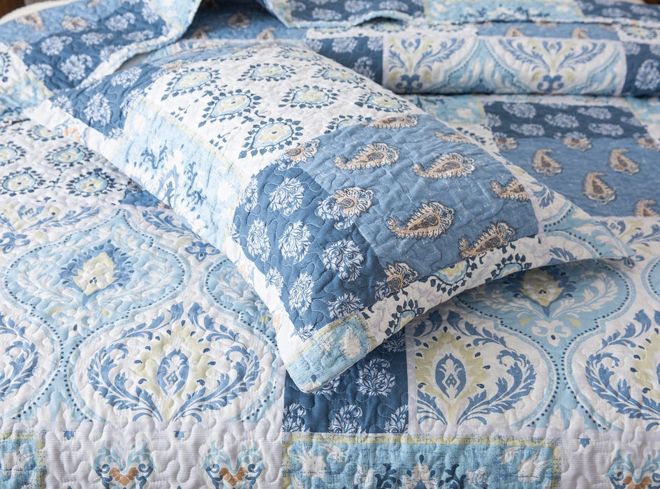 Tache Mediterranean Blue Coastal Cottage Villa Floral Paisley Sham (SD-11) - Tache Home Fashion