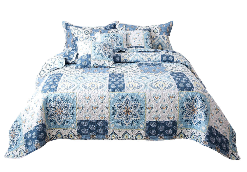 Tache Mediterranean Blue Coastal Cottage Villa Floral Paisley Bedspread Set (SD-11) - Tache Home Fashion