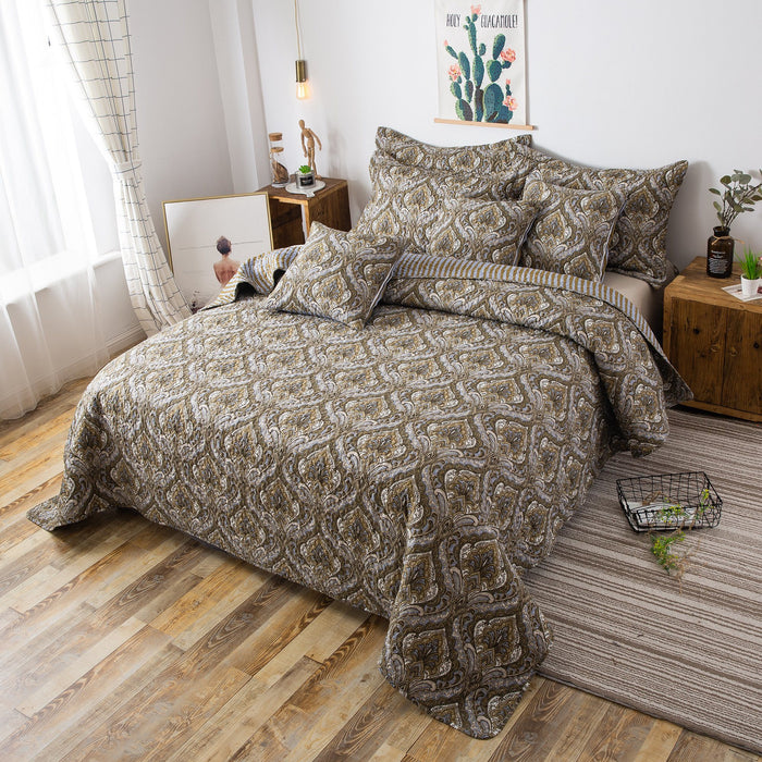Tache Olive Green Light Blue Paisley Striped Bohemian Spades Bedspread (SD-42L) - Tache Home Fashion