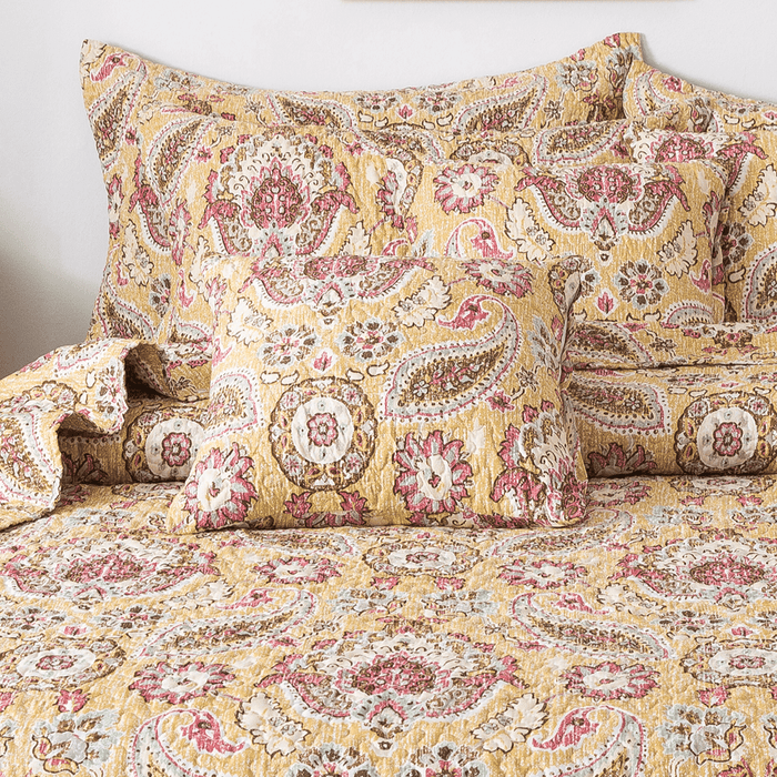 Tache Floral Paisley Damask Boho Chic Gold Royal Medallion Cushion Cover 2-Pieces (SD5357) - Tache Home Fashion