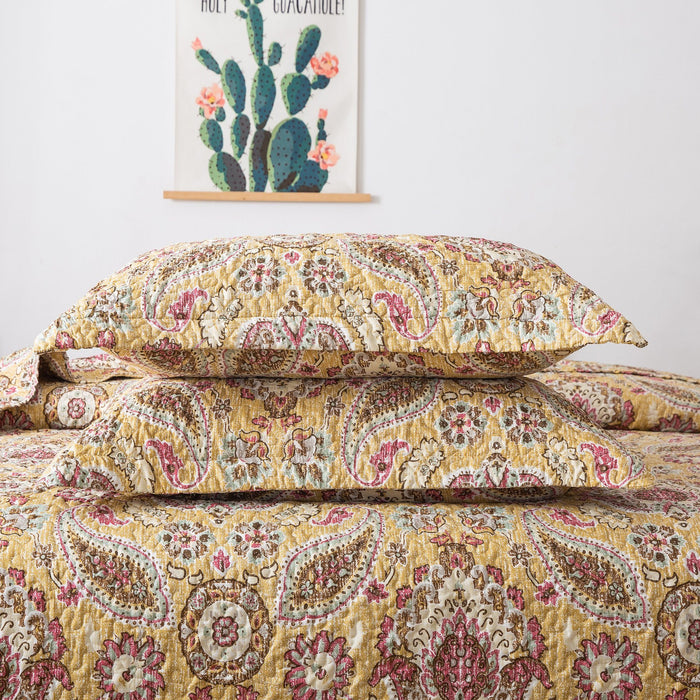Tache Gold Royal Medallion Boho Chic Floral Paisley Damask Shams (SD5357) - Tache Home Fashion