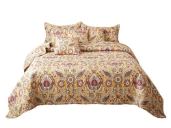 Tache Gold Royal Medallion Boho Chic Floral Paisley Damask Bedspread Set (SD5357) - Tache Home Fashion