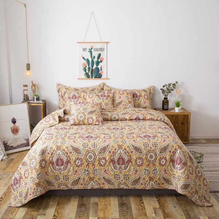 Tache Floral Paisley Damask Yellow Pink Boho Chic Gold Royal Medallion Bedspread (SD5357) - Tache Home Fashion
