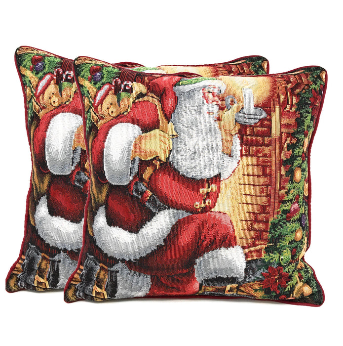 Tache Festive Down the Chimney Place Cushion Throw Pillow Cover (TADB11533CC-1616) - Tache Home Fashion