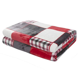 Tache Holiday Red Farmhouse Super Soft Plaid Patchwork Throw Blanket (4025) - Tache Home Fashion
