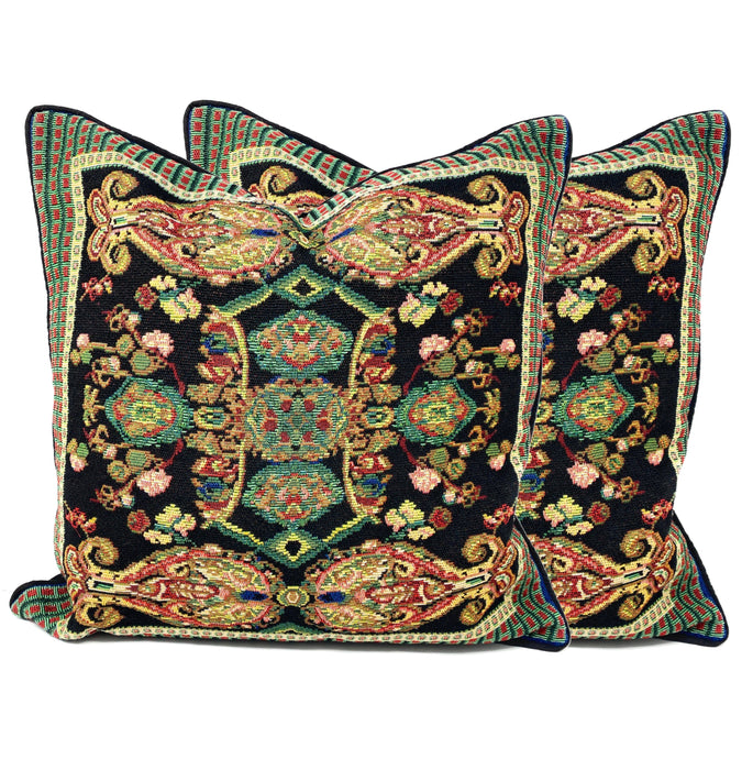 Tache Elegant Black Ornate Paisley Woven Tapestry Cushion Throw Pillow Cover (18192)