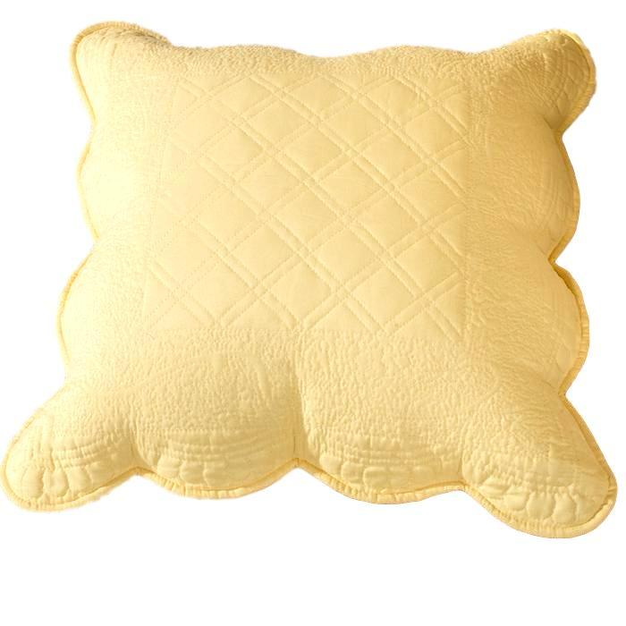 Tache Yellow Matelasse Buttercup Puffs Cotton Quilted Pillow Euro Shams (YELLEMDES-Euro)