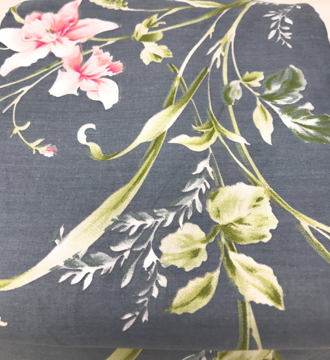 Tache 2-3 PC 100% Cotton Cherry Blossom Dusk Floral Grey Gray Rustic Girly Flat Sheet Set (TA2162FLT) - Tache Home Fashion