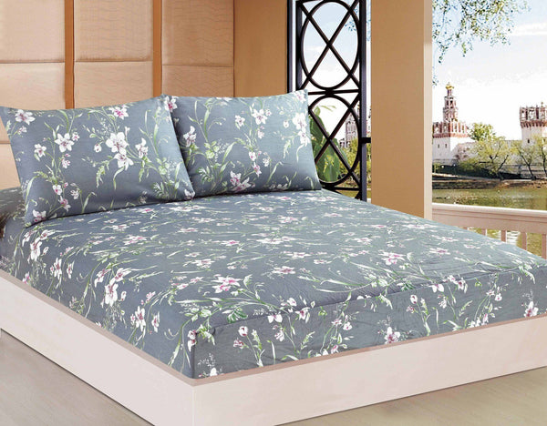 Bed Sheet - Tache 2-3 PC 100% Cotton Cherry Blossom Dusk Floral Grey Rustic Fitted Sheet Set