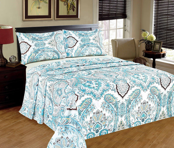 Bed Sheet - Tache 2-3 PC 100% Cotton Floral Frozen Forest Blue White Paisley Flat Sheet Set