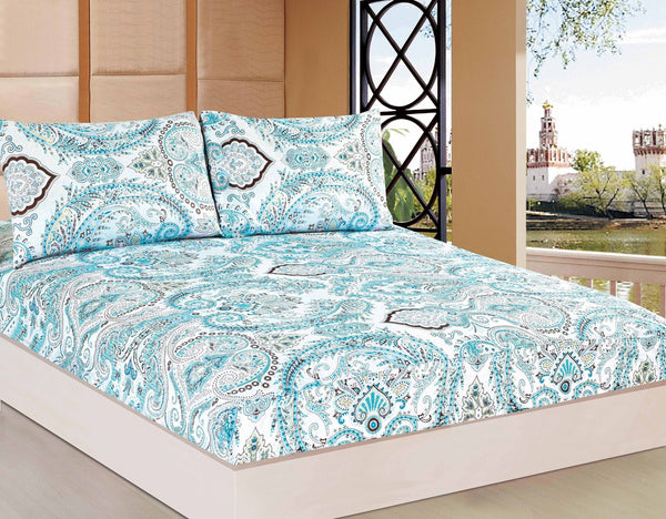 Bed Sheet - Tache 2-3 PC 100% Cotton Frozen Forest Blue White Paisley Floral Fitted Bed Sheet Set