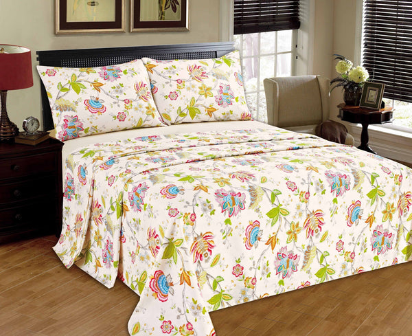 Bed Sheet - Tache 2-3 PC 100% Cotton Quiet Morning Garden Floral Cream Girly Colorful Flat Sheet Set